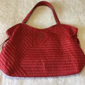 Tory Burch quilted red tote
